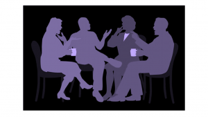 Image of people talking over coffee.